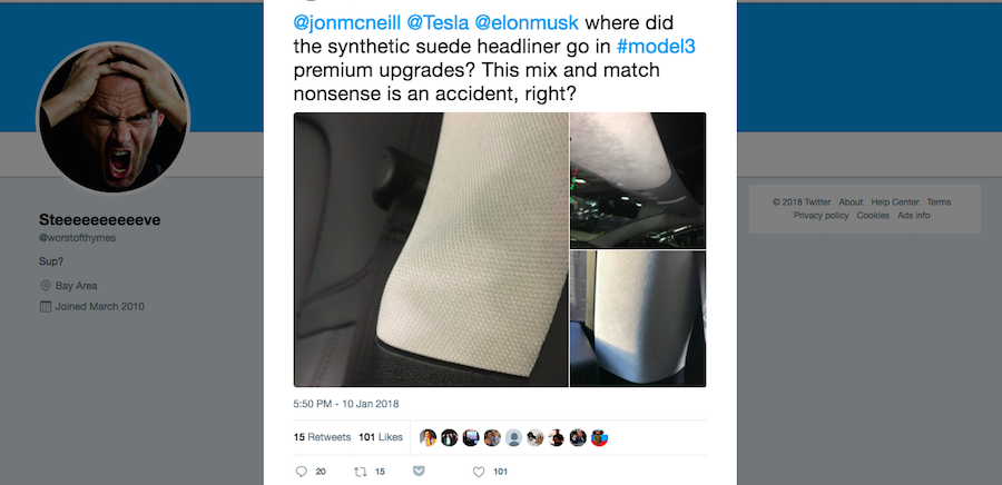 Model 3 owners accuse Tesla of bait-and-switch on premium interior materials