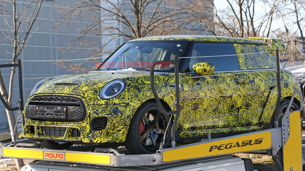 Mini John Cooper Works GP spied with wide body, big wing