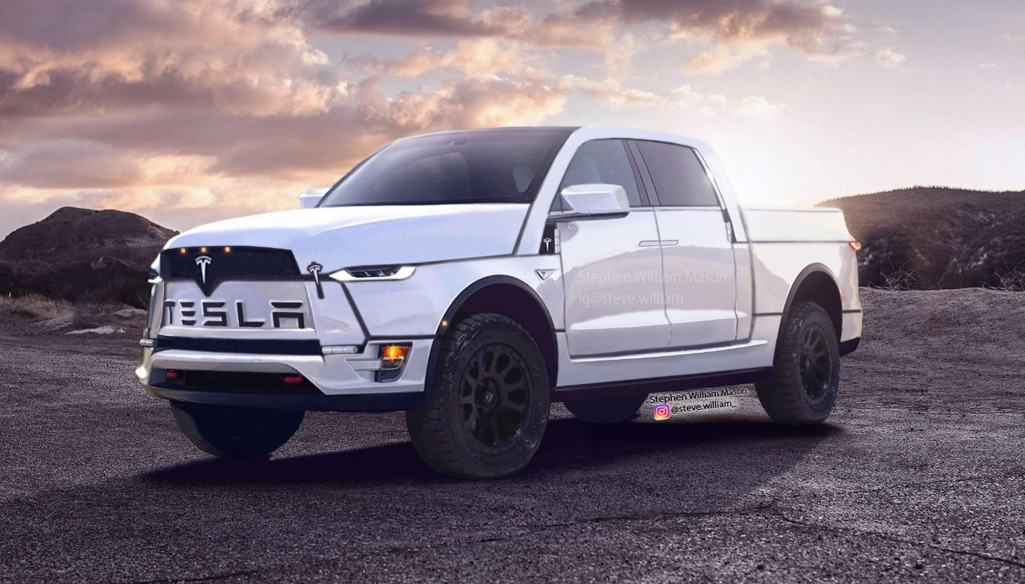 New Tesla Electric Pickup Render Is Bold, Reminds Us Of Ram Truck