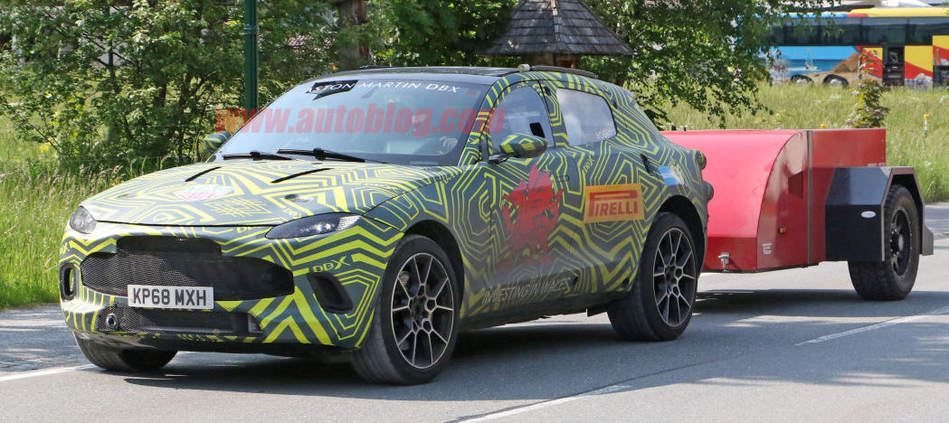 Aston Martin DBX SUV spied up close towing, and we get interior shots