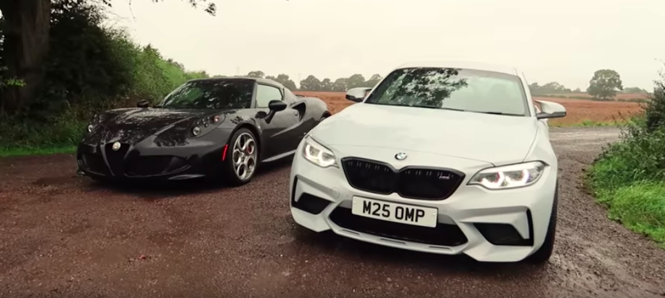 Watch Alfa Romeo 4C Fight BMW M2 Competition In Wet Drag Race